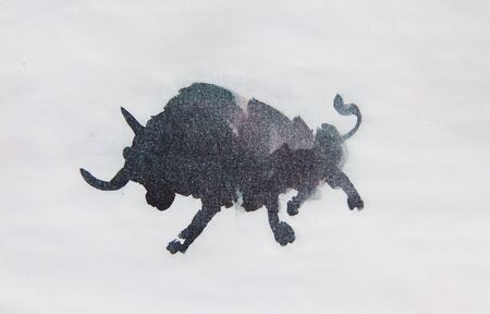 Bull watercolor isolated illustration, traditional style painting Standard-Bild