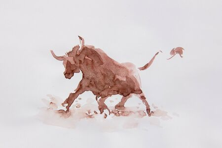 Bull watercolor isolated illustration, traditional style painting Imagens