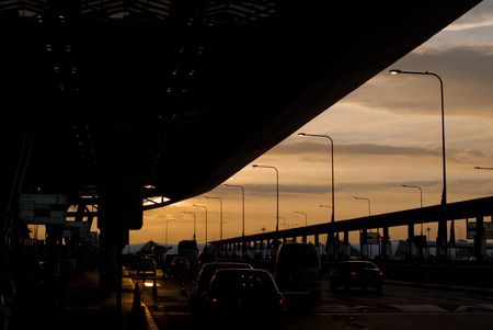 dropoff: Sunset view from Suvannabhumi Airport, Bangkok, Thailand Stock Photo
