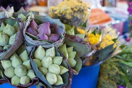 flower market: Lotus flowers sold in a local market in Thailand