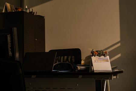 unlit: Unlit office desk