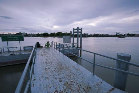chao phraya: Small pier on Chao Phraya River, Bangkok, Thailand Stock Photo