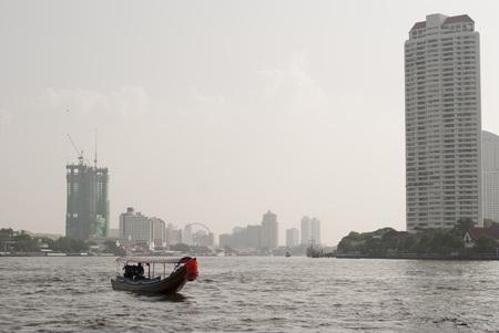 chao phraya: Long-tailed boat on Chao Phraya River, Bangkok, Thailand Stock Photo