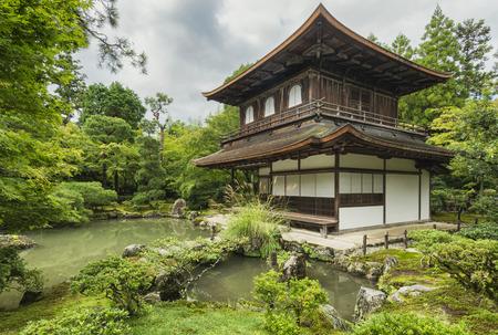 asian house plants: Ginkaku-ji Temple, wooden pavilion, Kyoto, Japan