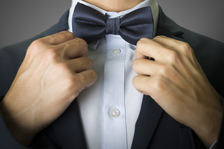 azul marino: Closeup on a man with a navy blue bow tie and suit