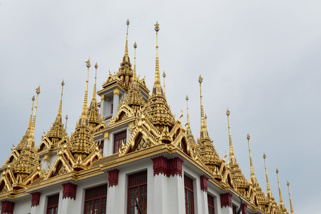 Loha Prasat or Metalic Castle of Wat Ratchanadda on Ratchadamnern Road after a renovation. Its roof was  previously black. It was commissioned to be coated with gold. The renovation is planned to finish in 2017. Editorial