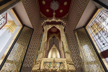 Buddhas Relics displayed on top of Loha Prasat, Wat Ratchanadda, Bangkok, Thailand