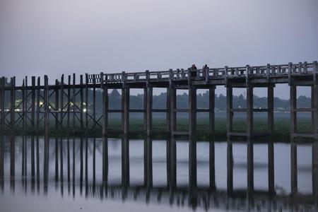 U-Bein Bridge at Taung Tha Man Lake, Mandalay, Myanmar