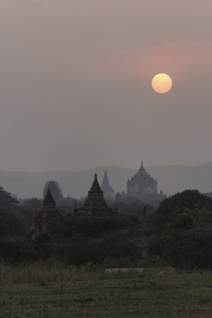 Bagan is an ancient city located in the Mandalay Region of Myanmar. From the 9th to 13th centuries, the city was the capital of the Pagan Kingdom, the first kingdom that unified the regions of modern Myanmar. Stock Photo