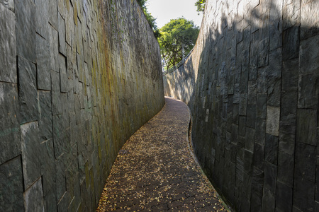 Scenic path at Underground Crossing at Fort Canning Park, Singapore