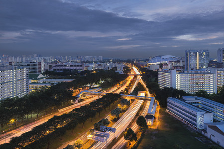 Kallang - Paya Lebar Expressway and Singapore National Stadium in the evening