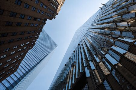 low angle view of skyscrapers in modern city, New York Stock Photo