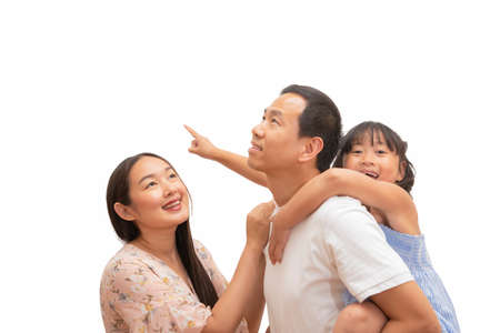 Happy Asian family woman and a man with little child smiling and fun in the white background.