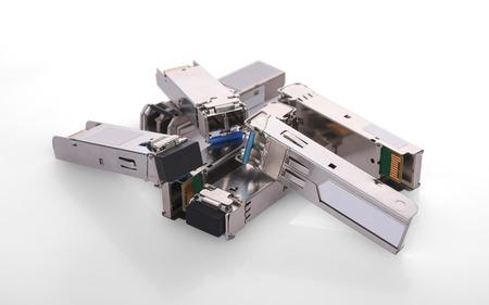 SFP Module on white background Stock Photo