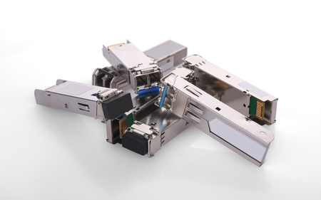 SFP Module on white background Stock Photo