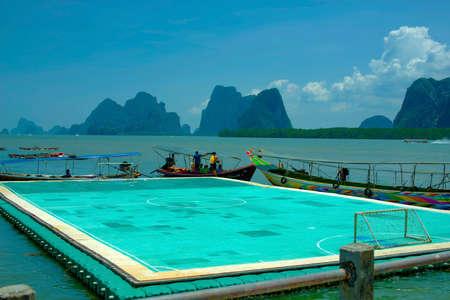 phangnga: Floating soccer field at Panyee Island, Phangnga, Thailand [5-Apr-2015]