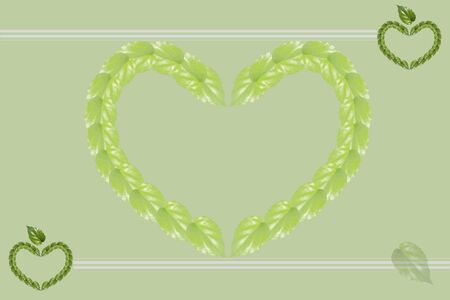 compose: Green background with the lined paper.  Heart shape compose of green leafs Stock Photo