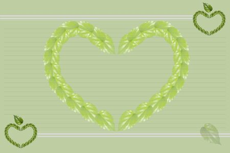 compose: Green background.  Heart shape compose of green leafs