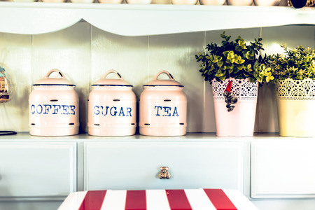 Vintage style. Jar and Pot in the kitchen.