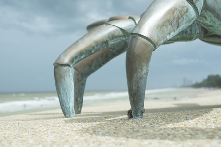bolted: Metal legs bolted to the bedrock. Stock Photo