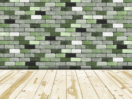 wooden floors: Tiled wall with green bricks and wooden floors