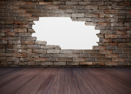 white hole: White hole in brick wall and wood floor Stock Photo