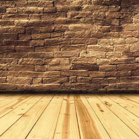 Brick walls and wood floor background Stock fotó