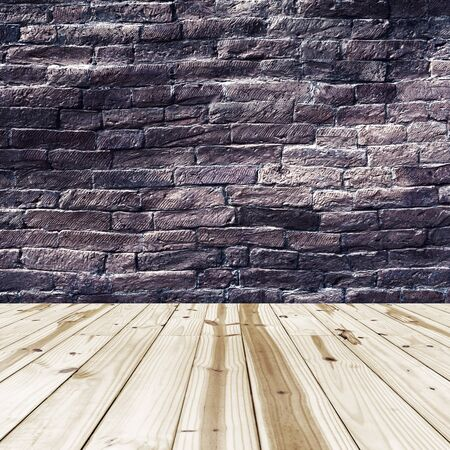wood planks: Brick walls and wood floor for background