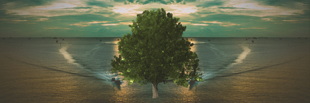 illus: Big tree in the middle of the ocean Stock Photo