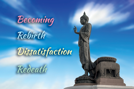 Buddha statue against on blue sky blurred background. 4 words