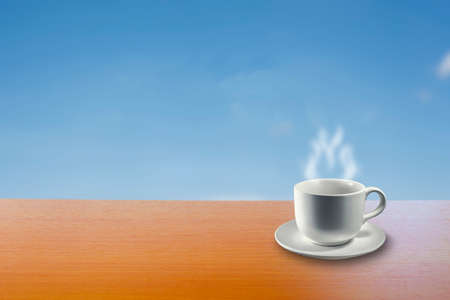 vapore acqueo: Hot Drink on the Table.  Abstract Background for display products on table.