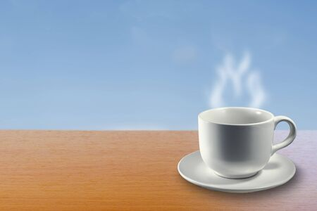vapour: Hot Drink on the Table.  Abstract Background for display products on table.