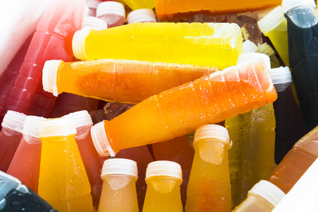 passion fruit flower: Herbal juice packed in plastic bottles. Fruit juice.