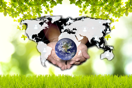 Social network can help the world to be green. Green and technology concept. Elements of this image furnished by NASA. Stock Photo