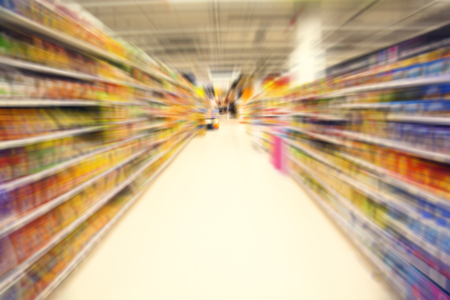 Radial zoom blur image. Supermarket or Department store. Abstract blur background
