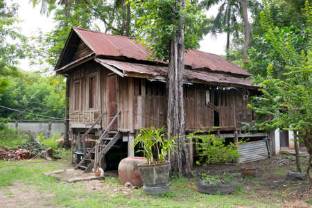 abandon: Old house. Simple life in Thailand.