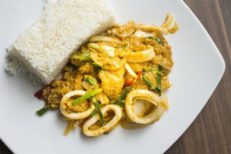 Stir chilli curry seafood served with rice.  Thai food. Stock Photo