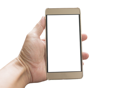 Hand holding smartphone with white screen isolated on white background. This has clipping path.