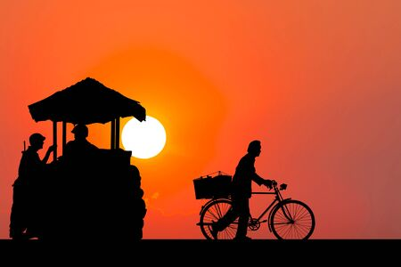 Silhouette image. Life in the war with sunset scene.