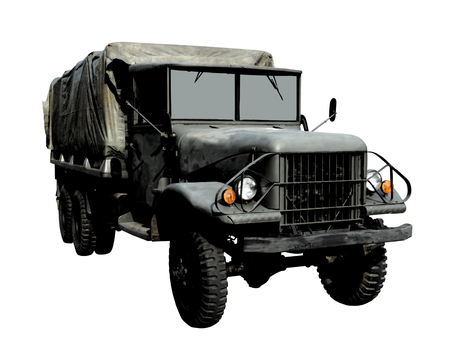 Using dark strokes filter on the image. Military vehicle isolated on white background. This has clipping path.