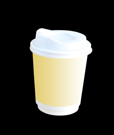Cup of coffee isolated on black background. This has clipping path Stock Photo