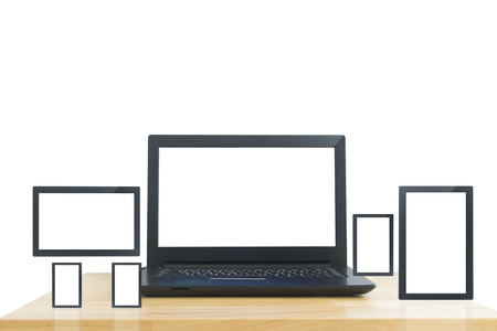Laptop computer with multi-screen on wood table isolated on white background.