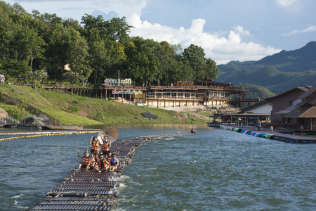 September 04, 2017 : Tourists floating on the river by wooden raft in Srinakarin Dam, Kanchanaburi, Thailand.
