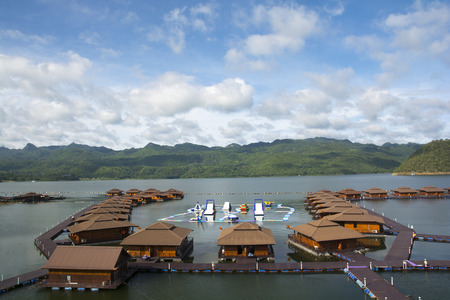 September 05, 2017 : Beautiful rafthouses floating on the river at Srinakarin Dam, Kanchanaburi, Thailand.