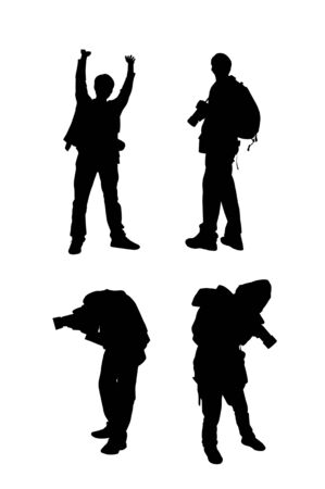 Silhouette image of man with his camera on white background.