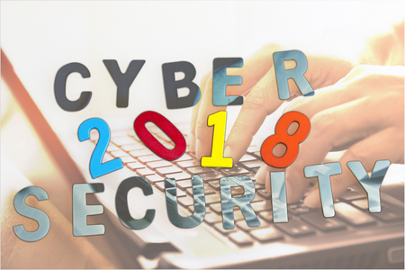 Cyber security concept and Trends 2018 with laptop in background.