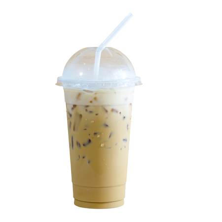 Ice coffee in a plastic cup isolated on white background. This has clipping path. Stock Photo