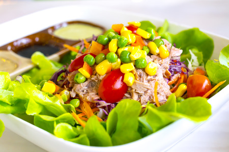 Mixed vegetable salad with tuna. Healthy food in Thailand.
