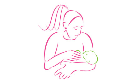 Mother carrying a baby. Abstract line and shape.