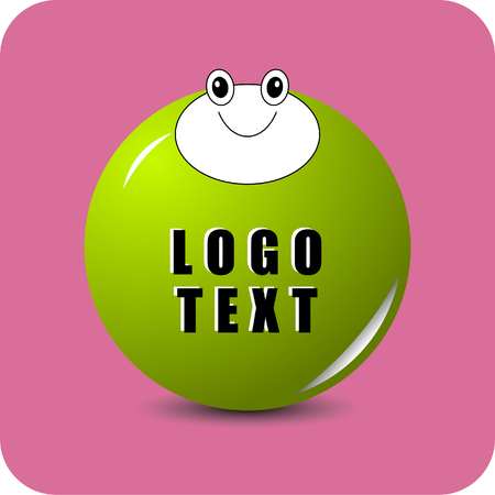 Smiling frog on green sphere with LOGO TEXT  and pink square background.